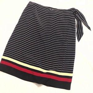 🔷BOGO🔷🆕 Talbots silk striped wrap a line skirt